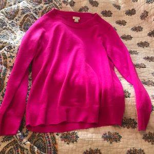 J. Crew Hot Pink Merino Wool Sweater